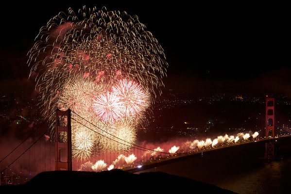 Picture of the Golden Gate Bridge with fireworks